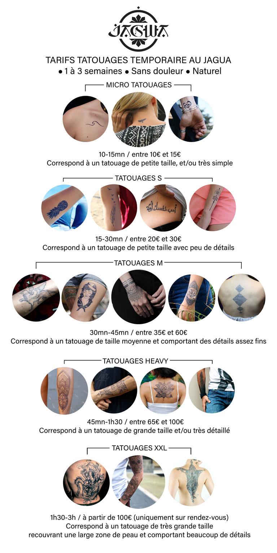 Tarifs tatouage temporaire Studio Jagwa Nice